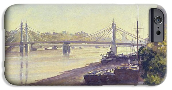 Chelsea iPhone Cases - Albert Bridge Oil On Canvas iPhone Case by Julian Barrow