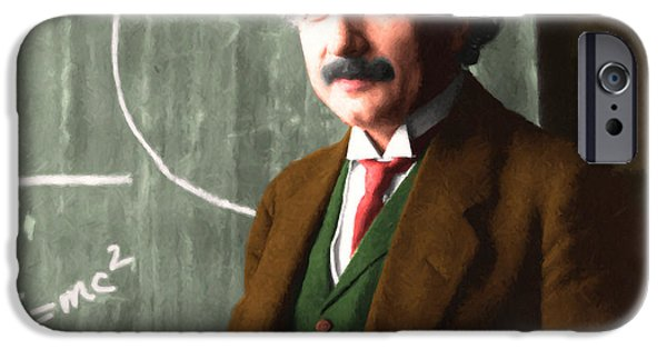 E=mc2 iPhone Cases - Albert Einstein 20140910 square iPhone Case by Wingsdomain Art and Photography
