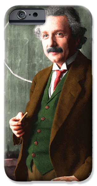 Relativity iPhone Cases - Albert Einstein 20140910 iPhone Case by Wingsdomain Art and Photography