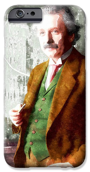 E=mc2 iPhone Cases - Albert Einstein 20140910wc iPhone Case by Wingsdomain Art and Photography