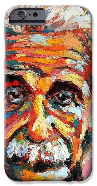Net Paintings iPhone Cases - Albert Einstein iPhone Case by Derek Russell