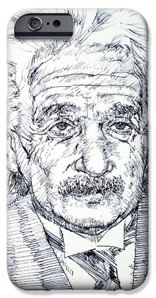 Einstein Drawings iPhone Cases - ALBERT EINSTEIN - drawing portrait iPhone Case by Fabrizio Cassetta