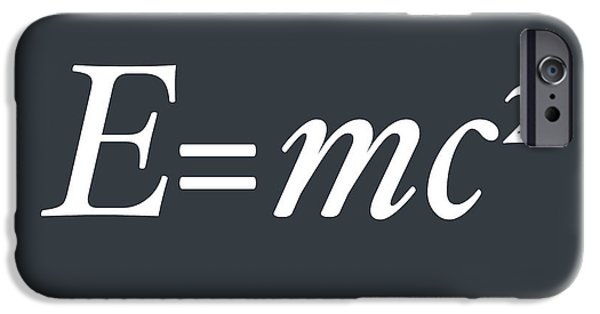 Mathematic iPhone Cases - Albert Einstein E equals mc2 iPhone Case by Michael Tompsett