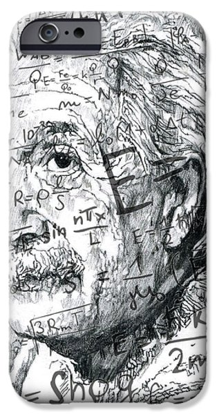 Einstein Drawings iPhone Cases - Albert Einstein iPhone Case by Kyle Willis