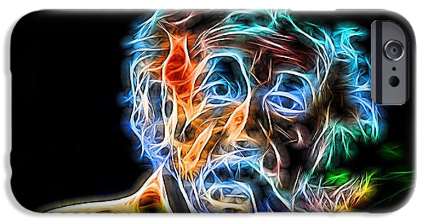 Big Al iPhone Cases - Albert Einstein Neon iPhone Case by Dan Sproul