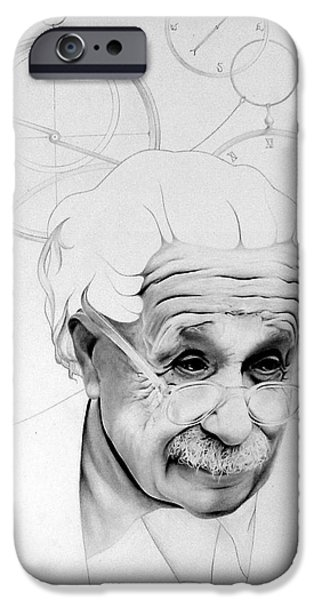 Einstein Drawings iPhone Cases - Albert Einstein iPhone Case by Patrick Anthony Pierson
