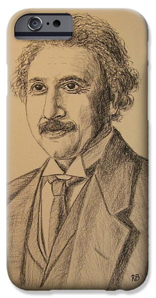 Einstein Drawings iPhone Cases - Albert Einstein iPhone Case by Robie Benve