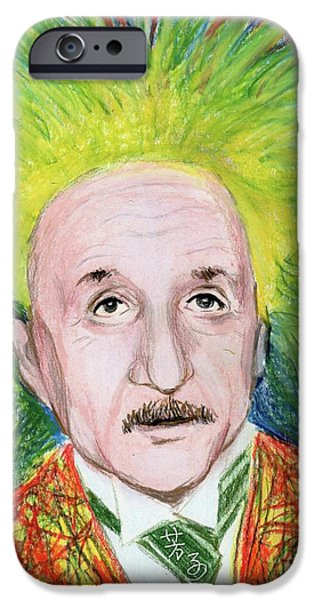 Einstein Drawings iPhone Cases - Albert Einstein iPhone Case by Yoshiko Mishina