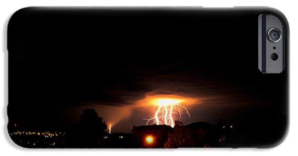 Lightning Photographer iPhone Cases - Alberta Lightning IV iPhone Case by Al Bourassa