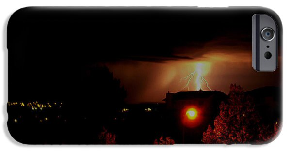 Lightning Photographer iPhone Cases - Alberta Lightning V iPhone Case by Al Bourassa