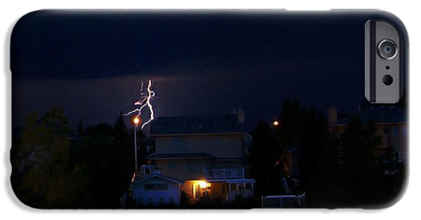 Lightning Photographer iPhone Cases - Alberta Lightning VIII iPhone Case by Al Bourassa