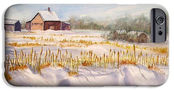 Snowy Day iPhone Cases - Alberta Winter Panorama iPhone Case by Mohamed Hirji