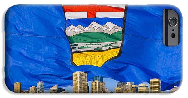 Freedom iPhone Cases - Albertas Flag Behind Edmonton Skyline iPhone Case by Corey Hochachka