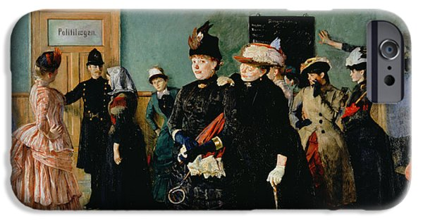 Interior Scene iPhone Cases - Albertine At The Police Doctors Waiting Room, 1886-87 iPhone Case by Christian Krohg
