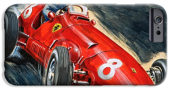Transportation Drawings iPhone Cases - Alberto Ascari driving a Maserati iPhone Case by English School