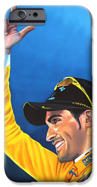 Racer iPhone Cases - Alberto Contador iPhone Case by Paul  Meijering
