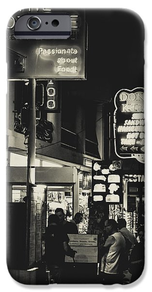 Night Lamp iPhone Cases - Albufeira Street Series - The Cottage I iPhone Case by Marco Oliveira