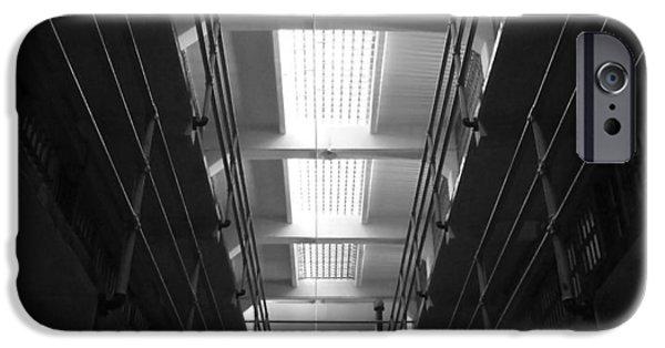 Alcatraz Pyrography iPhone Cases - Alcatraz Cell Block Corridor iPhone Case by Fabien White