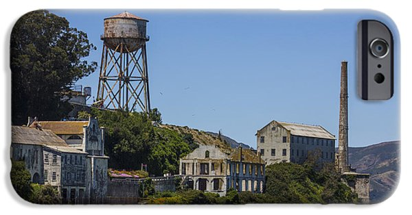 Alcatraz iPhone Cases - Alcatraz Dock and Water Tower iPhone Case by John McGraw