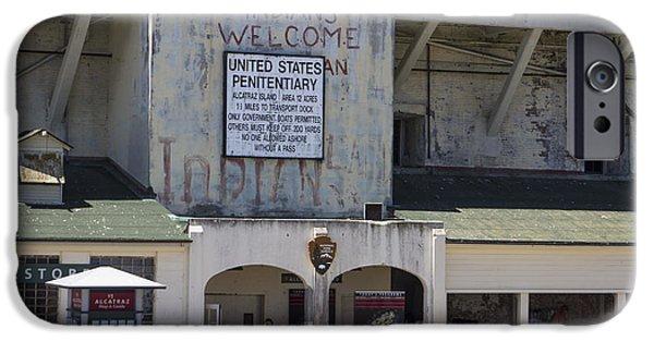 Alcatraz iPhone Cases - Alcatraz Entrance Indians Welcome iPhone Case by John McGraw