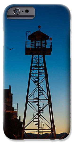 Alcatraz iPhone Cases - Alcatraz Guard Tower iPhone Case by Steve Gadomski