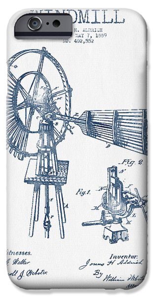 Windmills iPhone Cases - Aldrich Windmill Patent Drawing From 1889 - Blue Ink iPhone Case by Aged Pixel