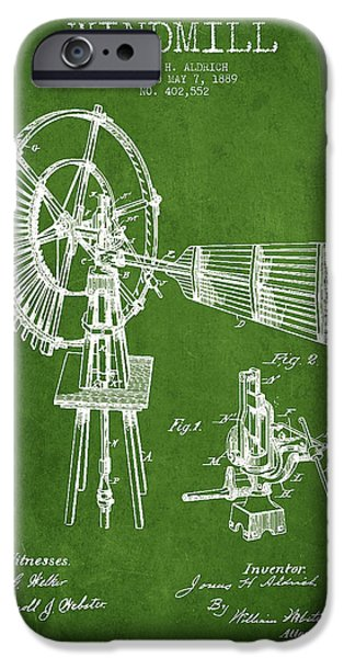 Windmills iPhone Cases - Aldrich Windmill Patent Drawing From 1889 - Green iPhone Case by Aged Pixel