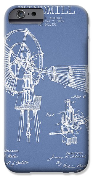Windmills iPhone Cases - Aldrich Windmill Patent Drawing From 1889 - Light Blue iPhone Case by Aged Pixel