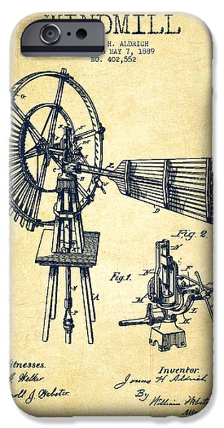 Windmills iPhone Cases - Aldrich Windmill Patent Drawing From 1889 - Vintage iPhone Case by Aged Pixel