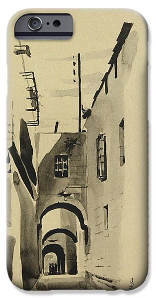 Alley Mixed Media iPhone Cases - Aleppo Old City Alleyway 1 iPhone Case by Mamoun Sakkal
