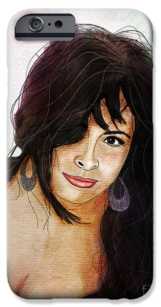 Celebrities Art Drawings iPhone Cases - Alessandra Volpe iPhone Case by Gary Bodnar