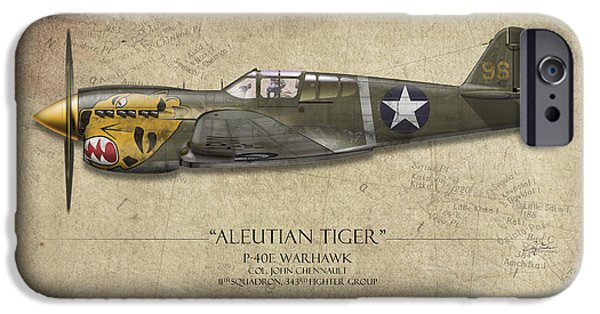 Warhawk iPhone Cases - Aleutian Tiger P-40 Warhawk - Map Background iPhone Case by Craig Tinder