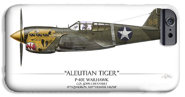 Warhawk iPhone Cases - Aleutian Tiger P-40 Warhawk - White Background iPhone Case by Craig Tinder