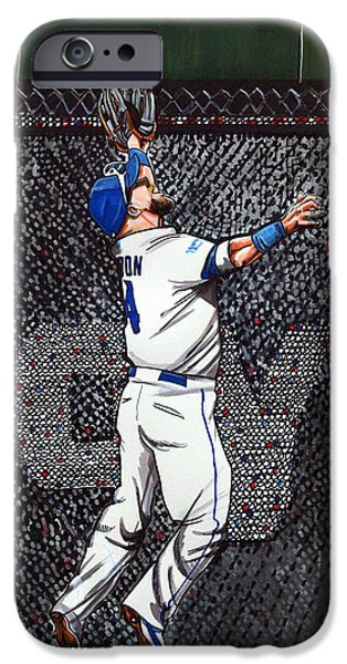 Mlb Drawings iPhone Cases - Alex Gordons Amazing ALCS catch for the KC Royals iPhone Case by Dave Olsen