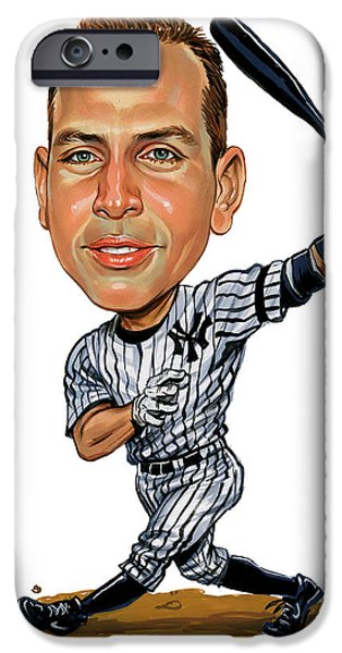 Mlb.com iPhone Cases - Alex Rodriguez iPhone Case by Art