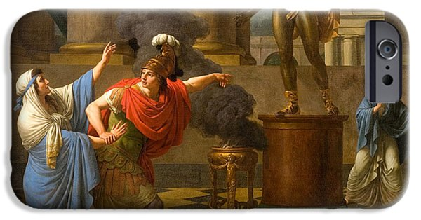 Consult iPhone Cases - Alexander Consulting the Oracle of Apollo iPhone Case by Louis-Jean-Francois Lagrenee