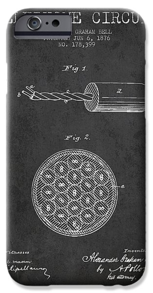 Circuit iPhone Cases - Alexander Graham Bell Telephone Circuit Patent from 1876 - Dark iPhone Case by Aged Pixel