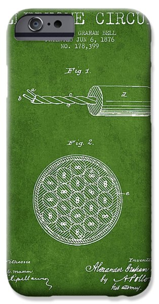 Circuit iPhone Cases - Alexander Graham Bell Telephone Circuit Patent from 1876 - Green iPhone Case by Aged Pixel