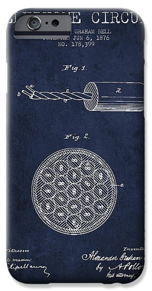 Circuit iPhone Cases - Alexander Graham Bell Telephone Circuit Patent from 1876 - Navy  iPhone Case by Aged Pixel