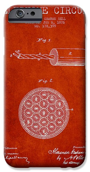 Circuit iPhone Cases - Alexander Graham Bell Telephone Circuit Patent from 1876 - Red iPhone Case by Aged Pixel