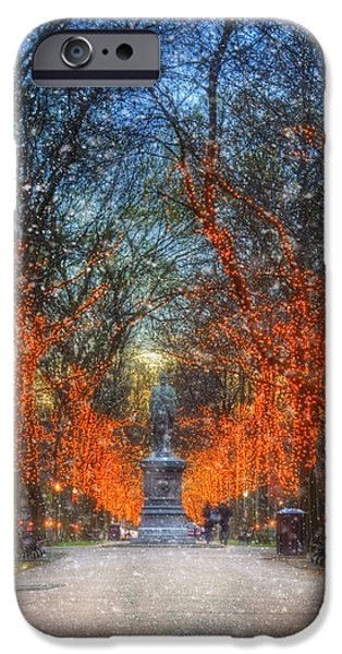 Fall Scenes iPhone Cases - Alexander Hamilton on Commonwealth Ave - Boston iPhone Case by Joann Vitali