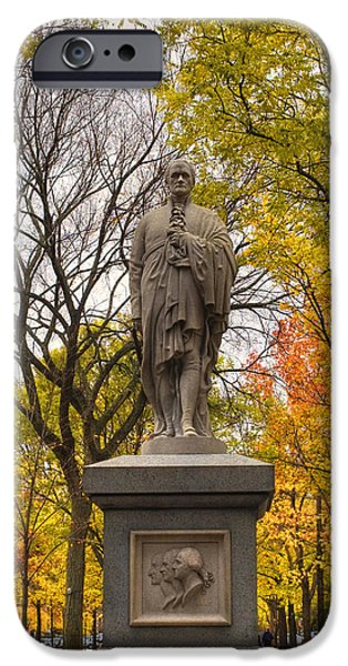 Massachusetts Autumn Scenes iPhone Cases - Alexander Hamilton Statue iPhone Case by Joann Vitali