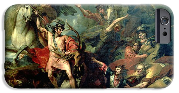 Bravery iPhone Cases - Alexander Iii Of Scotland Rescued From The Fury Of A Stag By The Intrepidity Of Colin Fitzgerald iPhone Case by Benjamin West