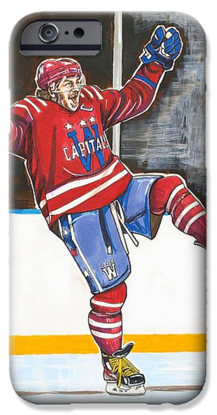 Hockey Drawings iPhone Cases - Alexander Ovechkin 2015 Winter Classic iPhone Case by Dave Olsen