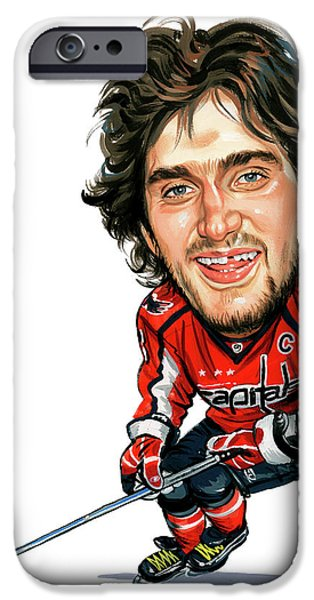 Hockey Paintings iPhone Cases - Alexander Ovechkin iPhone Case by Art