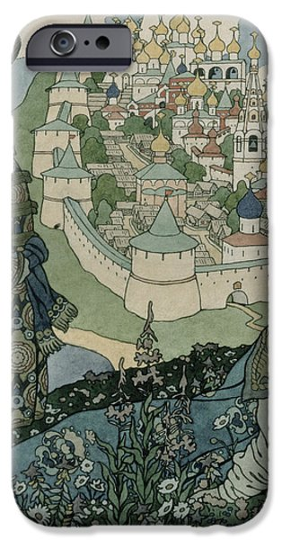 Landscapes Drawings iPhone Cases - Alexander Pushkins Fairytale of the Tsar Saltan iPhone Case by Ivan Jakovlevich Bilibin