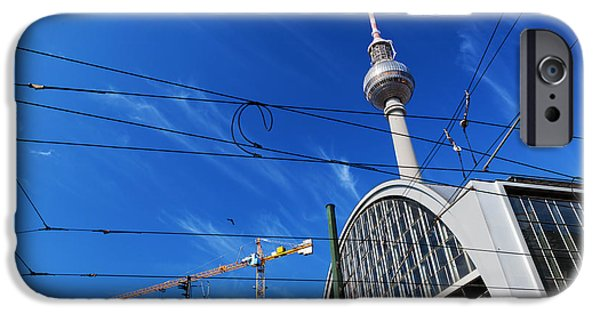 U-bahn iPhone Cases - Alexanderplatz sign and Television tower Berlin Germany iPhone Case by Michal Bednarek