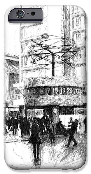 Berlin Drawings iPhone Cases - Alexanderplatz iPhone Case by Stefan Kuhn