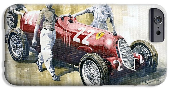 Racing iPhone Cases - Alfa Romeo 12C-36 Tazio Nuvolari Coppa Ciano race 1937 iPhone Case by Yuriy  Shevchuk