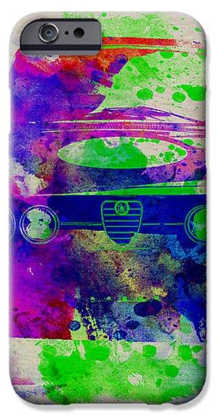 Alfa Romeo Front Watercolor 1 iPhone Case by Naxart Studio